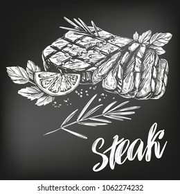food meat, steak, roast set, calligraphic text, hand drawn vector illustration realistic sketch, , drawn in chalk on a black board