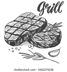 food meat, steak, roast set, calligraphic text, hand drawn vector illustration realistic sketch