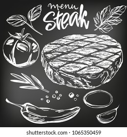 food meat, steak, roast, vegetable set, hand drawn vector illustration realistic sketch , drawn in chalk on a black board