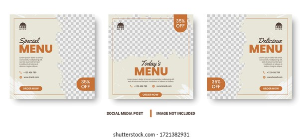 Food menu banner social media post. Editable social media templates for promotions on the Food menu. Set of social media story and post frames. Layout design for marketing on social media.