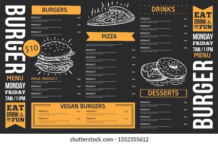 Food menu. Creative menu design. Layout design, Design set for menu restaurant.