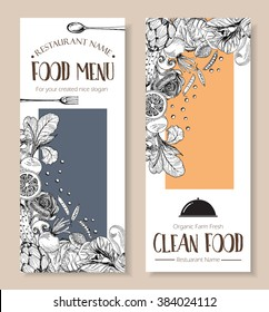 Food menu design vegetable organic healthy clean food farm fresh drawing doodle style ,cover menu vector illustration