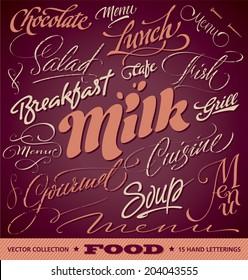 FOOD menu headlines set of 15 hand letterings -- custom handmade calligraphy, vector (eps8)