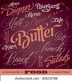 FOOD menu headlines set of 16 hand letterings -- custom handmade calligraphy, vector (eps8)