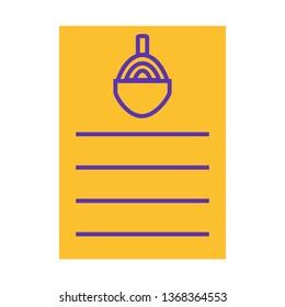 Food Menu, List Flat Style Icon Vector - Vector