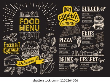 Food menu for restaurant with burger. Vector food flyer for bar and cafe on blackboard background. Design template with vintage hand-drawn illustrations.
