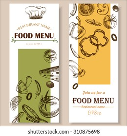 food menu restaurant cafe  brochure. drawing template. vegetable retro color  vector illustration
