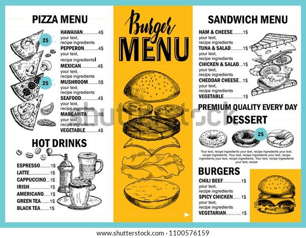 Food Menu Restaurant Cafe Design Template Stock Vector Royalty Free 1100576159