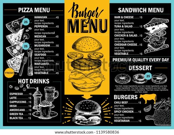 Food Menu Restaurant Cafe Design Template Stock Vector Royalty Free 1139580836