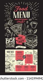 Food menu for restaurant. Vector template on chalkboard background. Design flyer with vintage hand-drawn illustrations.