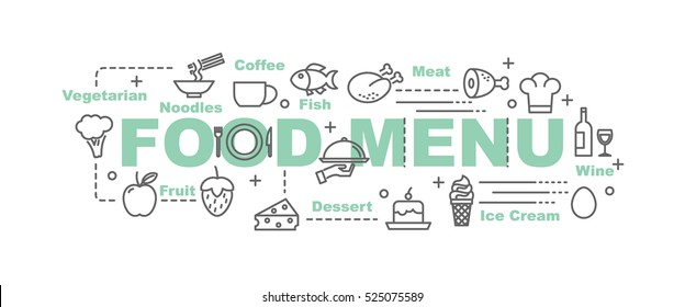 food menu vector banner design concept, flat style with thin line art food icons on white background