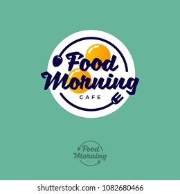 Food Morning logo. Breakfast cafe emblem. Fried eggs fork and spoon on a green background. Typography. Lettering design.