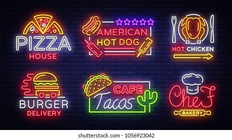 Food neon sign vector collection. Set neon logos, emblems, symbols, Pizza House, American Hot Dog, Hot Chicken, Burger Delivery, Chef Bekery, Tacos cafe. Design templates Neon Billboard