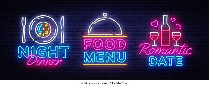 Food night set neon sing, label and logo. Romantic Dinner banner Design template, logo, emblem and label. Restaurant Menu Bright signboard, nightly bright advertising. Movie logo. Vector illustration
