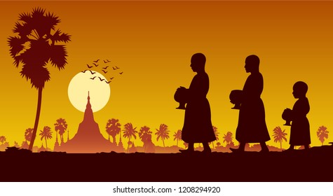 food offering to a monk or ask as a favour receive food or ask for alms,routine of monk,walking pass famous pagoda of myanmar,vector illustration