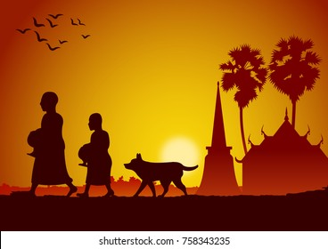 food offering to a monk or ask as a favour receive food or ask for alms,routine of monk,vector illustration
