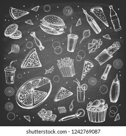 Food on the background of the chalk board. Fast food. Vector illustration.