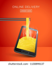 FOOD ONLINE DELIVERY. FOOD DELIVERY APP. ORDER FOOD ONLINE. NOODLE WITH CHOPSTICKS. SMART PHONE VISUAL CONCEPT FOR FOOD ONLINE DELIVERY. DIFFERENT ANGLE AND PERSPECTIVE