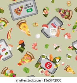 Food order, great design for your purposes. Food concept. Vector seamless pattern