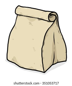 food package paper bag / cartoon vector and illustration, hand drawn style, isolated on white background.