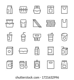 Food packaging and beverages 25 line icons vector