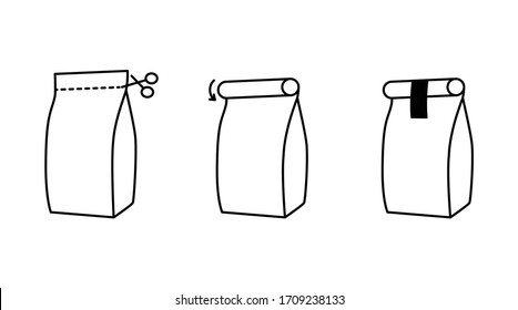 Food packaging of loose products instruction icons