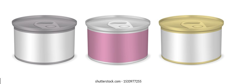 Food packaging set. Small tin can with pull tab lid and blank label, vector mockup. Silver and golden metal round canisters, template. Easy to recolor.