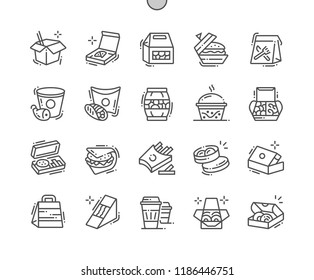 Food packaging Well-crafted Pixel Perfect Vector Thin Line Icons 30 2x Grid for Web Graphics and Apps. Simple Minimal Pictogram