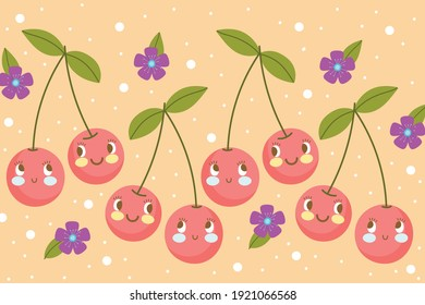 food pattern funny happy cartoon fruit cherries and flwoers vector illustration