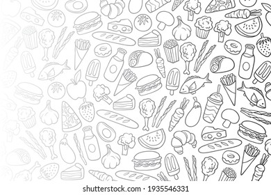 Food pattern. seamless isolated pattern with line icons. Fruits, vegetables, honey, eggs, meat and fish