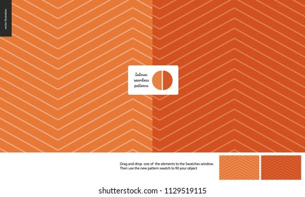 Food patterns, fish, flat vector illustration - salmon meat seamless texture - dark and light salmon colored inside fish texture and a seamless pattern of uneven salmon meat. Zig zag pattern