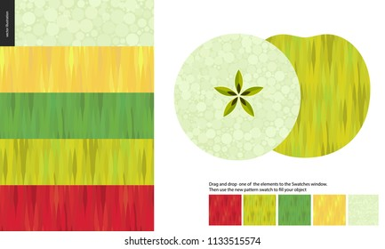 Food patterns, flat vector illustration - apple texture, half of green apple image on side, five seamless patterns of apple red, light green, dark green and yellow rind, white greenish pulp with seeds