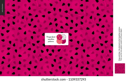 Food patterns, summer - fruit, dragonfruit texture, small half of a dragon fruit image in the center - a seamless pattern of the red dragonfruit sweet pulp on the purple background, pitahaya