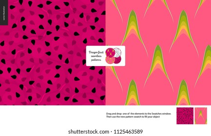 Food patterns, summer - fruit, dragonfruit texture, tiny half of dragon fruit image in center - two seamless patterns of purple dragonfruit rind with little green thorns and purple pulp, black seeds