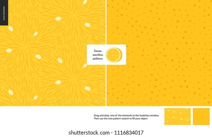 Food patterns, summer - fruit, lemon texture, small half of lemon image in the center -two seamless patterns of lemon sour pulp full of white seeds and yellow rind with little holes, yellow background