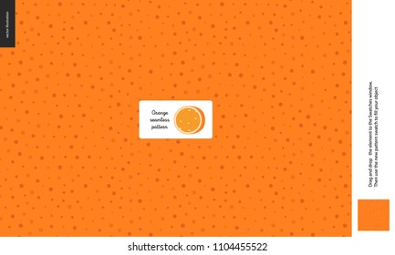 Food patterns, summer - fruit, orange texture, tiny half of orange image in the center - a seamless pattern of the orange rind with little holes, aril, peel, skin, healthy vitamin fruit