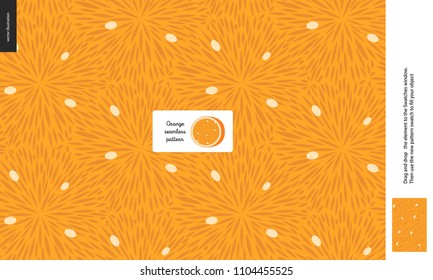Food patterns, summer - fruit, orange texture, small half of an orange image in the center - a seamless pattern of the orange pulp full of white seeds on the orange background