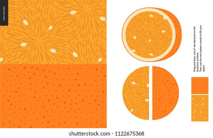 Food patterns, summer - fruit, orange texture, half of orange image on the side -two seamless patterns of the orange pulp full of white seeds and rind with little holes, orange background