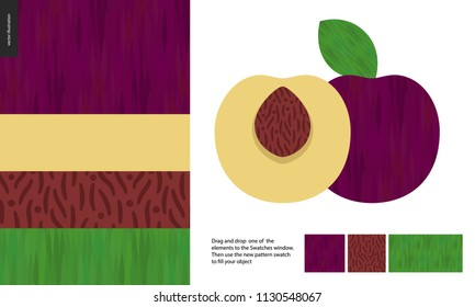Food patterns, summer - fruit, plum texture, half of plum image on side- four seamless patterns of plum sweet firm yellow nude pulp, purple smooth rind, brown seed of grainy smooth texture, green leaf