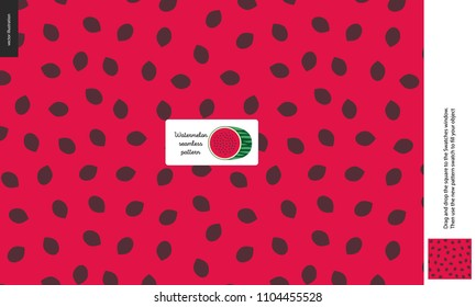 Food patterns, summer - fruit, watermelon texture, melon - a seamless pattern of watermelon flesh pulp full of white and black seeds on the red pink background, half of whatermelon image in the center