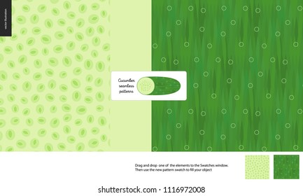 Food patterns, vegetable, flat vector illustration -cucumber texture, small half of cucumber image and two seamless patterns of cucumber fresh pulp full of green seeds and dark green rind