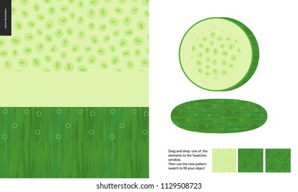 Food patterns, vegetable, flat vector illustration -cucumber seamless texture, half of cucumber image and two patterns of cucumber fresh pulp full of white greenish seeds and dark green fresh rind.