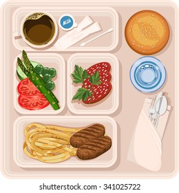 Food for plane passengers. Airplane lunch. Vector illustration