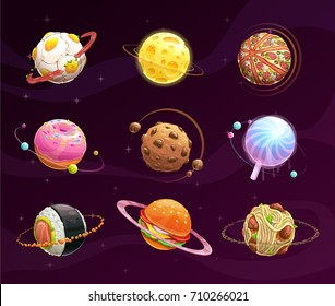 Food planet galaxy concept. Fantasy planets set on cosmic background. Vector space illustration. Tasty astronomy art.