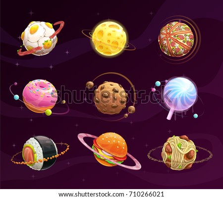 food planet galaxy concept fantasy planets stock vector royalty