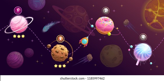 Food planets set. Rocket space trip concept. Shipping road, universe map for GUI design. Fantasy galaxy game concept. Vector cosmic illustration.