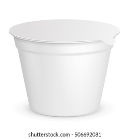 Food Plastic Tub Bucket Container For Dessert, Yogurt, Ice Cream, Sour Cream. Illustration Isolated On White Background. Mock Up Template Ready For Your Design. Product Packing Vector EPS10