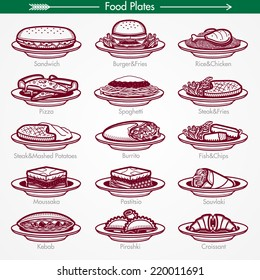 Food Plates From Around the World. Pictogram Style