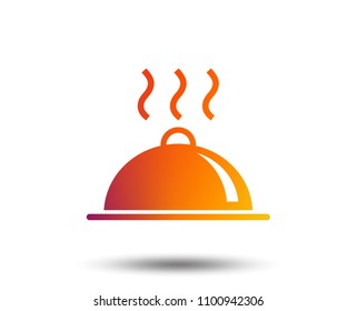 Food platter serving sign icon. Table setting in restaurant symbol. Hot warm meal. Blurred gradient design element. Vivid graphic flat icon. Vector