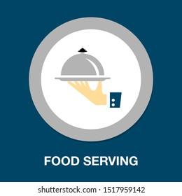Food platter serving sign icon - restaurant sign, food serving illustration